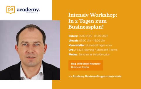 Intensiv Workshop_In 2 Tagen zum Businessplan_05.09.2022_06.09.2022