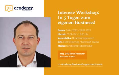 Intensiv Workshop_In 5 Tagen zum eigenen Business_24.01.2022_28.01.2022