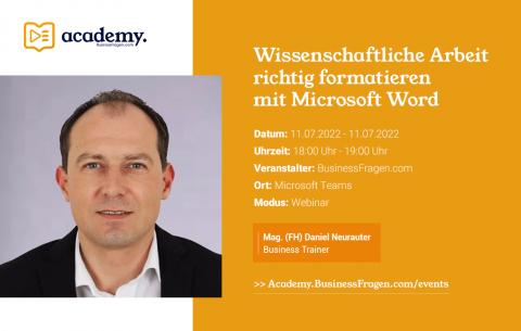 Wissenschaftliche Arbeit richtig formatieren mit Microsoft Word_11.07.2022